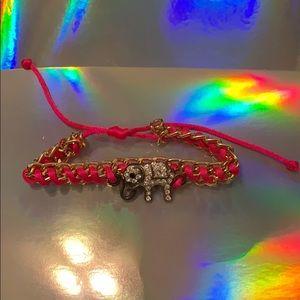 Pink elephant bracelet